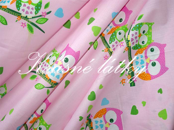 Sovy 100% bavlna v pestrých barvách. na dětské výrobky a deky