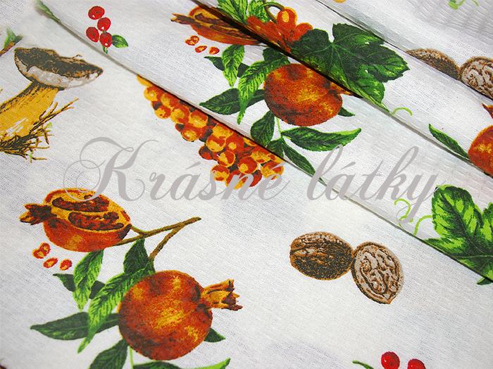 houby,látka s lesním motivem, chorož,hříbek,hříbky,kaštany,jeřabiny,podzimní látky