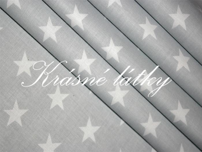 Plátno bavlněné, šedá + bílé Hvězdy, metráž, látky, hvězdičky 100% bavlna š.160cm 140gr/m2,plátno, patchwork