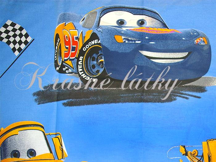 Auta - krásná látka např. na dětské povlečení,modrý podklad, bavlna metráž, šíře 240cm