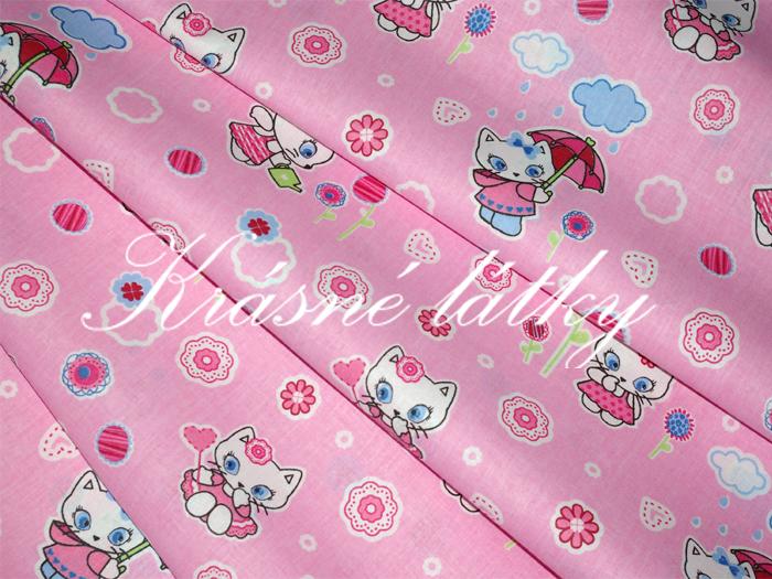 Růžové bavlněné plátno s kočičkami na dětské výrobky, povlečení
