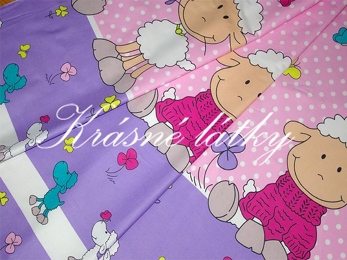Ovečky e fialovém provedení - krásná látka např. na dětské povlečení
