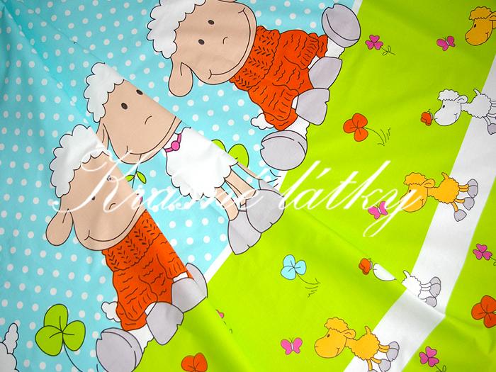 Ovečky v oranžovém provedení - krásná látka např. na dětské povlečení