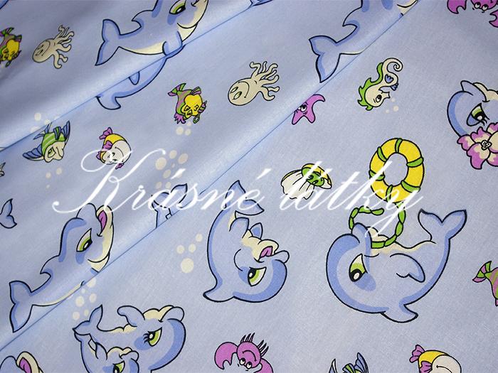 Delfínci- š.220 cm 100% bavlna v pestrých b. na dětské výrobky a dek