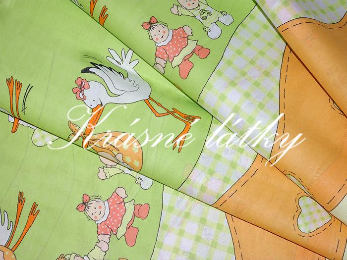 Čáp - bavlněné plátno na dětské povlečení do postýlky nebo mantinel