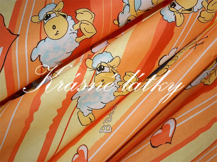 Ovečky v oranžovém provedení - 100% bavlna, hladké plátno