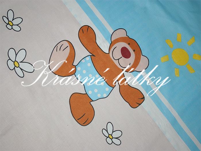 Medvídek s kytičkou - růžový- 100% bavlna