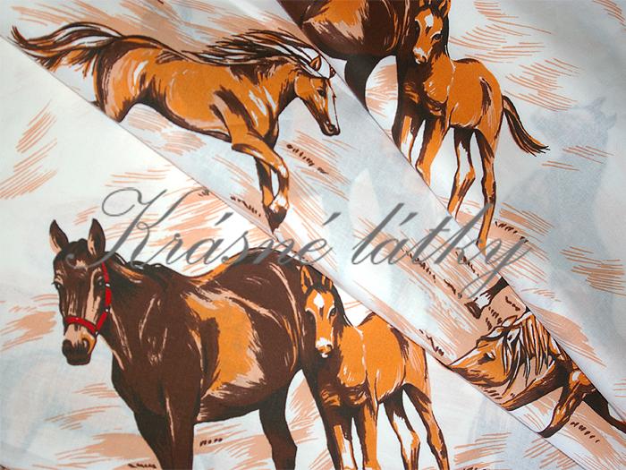 Koně š. 140cm - bavlněné plátno, dětská metráž na dětské výrobky