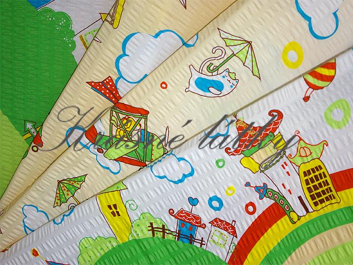 Veselá dětská látka š. 140cm - krep, dětská metráž na dětské výrobky
