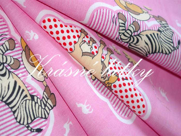Zebra a další zvířátka - 100% bavlna dětská metráž na dětské výrobky