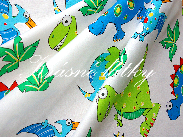 Cesta do pravěku-Dinosauři 100% bavlna vysoké kvality,š.140cm,barevní