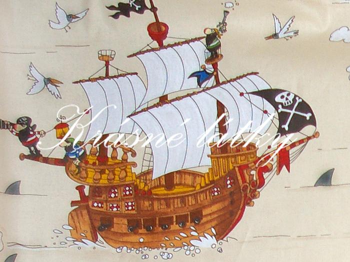 Pirátská loď 100% bavlna vysoké kvality,š.160cm