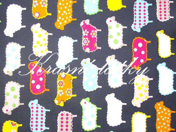 Ovečky - velmi pěkný vzor a materiál/bytový textil, hladké plátno
