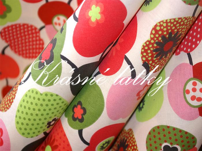 jablíčka 100% bavlna v pestrých barvách. na dětské výrobky a deky