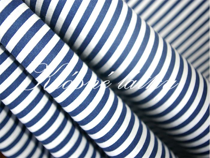 Pruhovaná látka - modrý proužek 100% bavlna