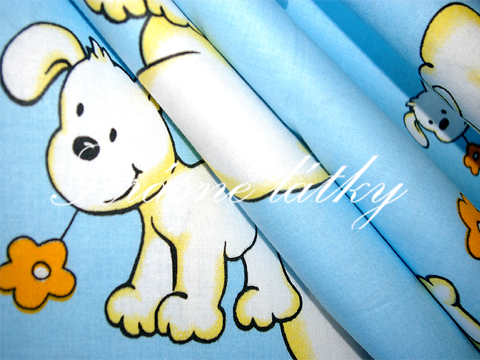Štěňátka 100% bavlna . 160cm, modré provedení
