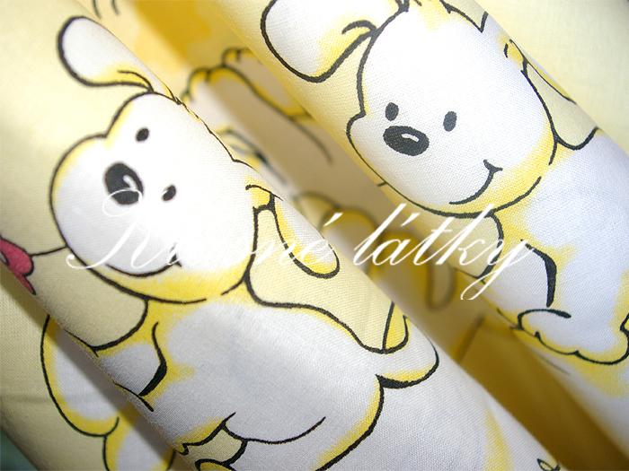 Štěňátka 100% bavlna š. 160cm,okrové/žluté provedení