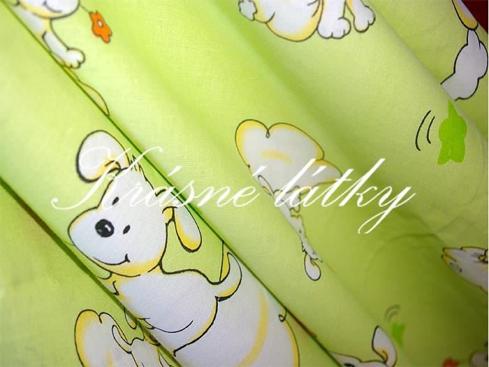 Štěňátka 100% bavlna š. 160cm,zelené/limetkové provedení