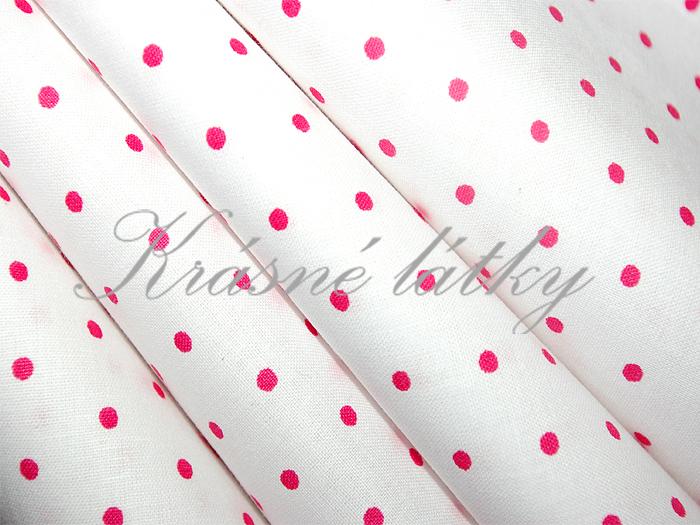 Drobný červeno-růžový puntík 3mm - bílý podklad, 100% bavlna š.240cm