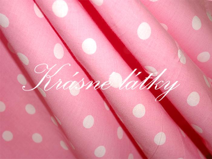 Bílé puntíky 1,7cm- růžový podklad š. 150cm