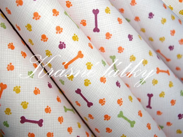 Kosti a tlapky značková metráž v pěkné kvalitě - š.160 cm 100% bavlna- 100% bavlna v pestrých barvách. na dětské výrobky a deky