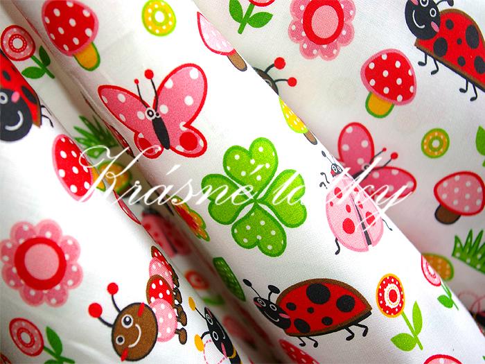 Na louce- 100% bavlna v pestrých barvách. na dětské výrobky a deky