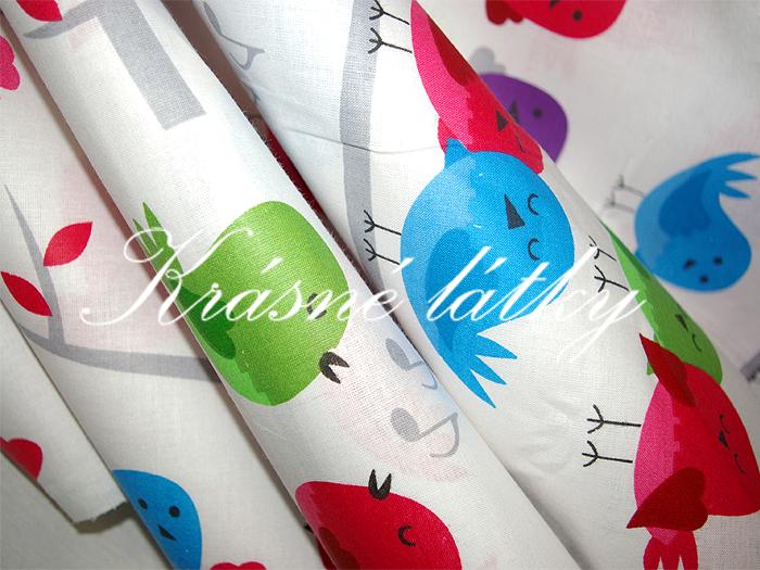 Ptáčci značková metráž v pěkné kvalitě - š.160 cm 100% bavlna- 100% bavlna v pestrých barvách. zpěvánky