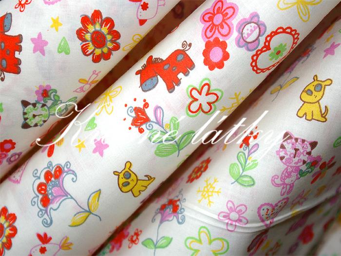 Koníček, pejsek..- š.145 cm 100% bavlna v pestrých b. na dětské výrobky atp