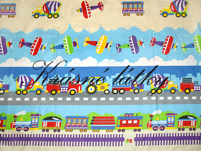 Mašinka,letadla,míchačka,traktor,hasiči , hladké bavlněné plátno