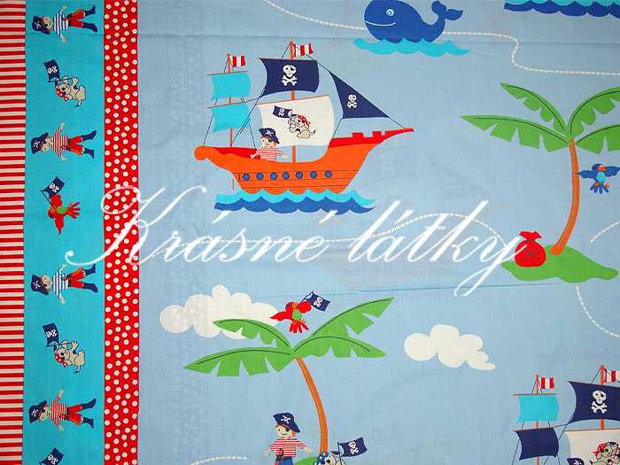 Pirátská loď, papoušek, pejsek, piráti š. 160cm
