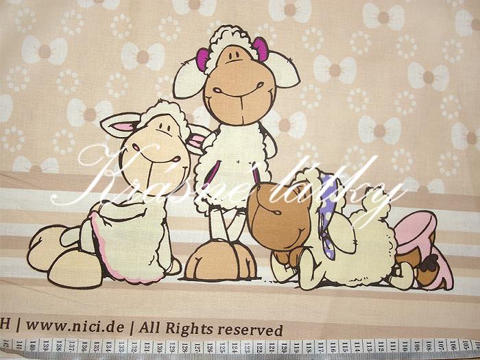 Ovečky v růžovém provedení - krásná látka např. na dětské povlečení