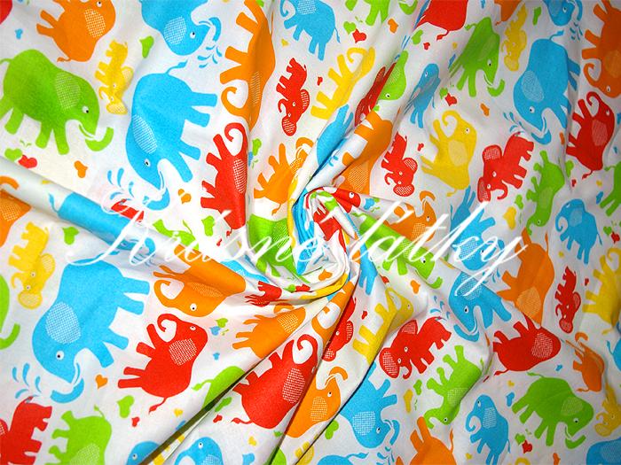 Barevní sloni hladké bavlněné plátno š.160cm 100% bavlna