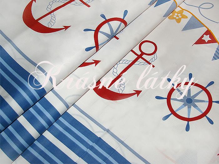 Kotva, lodě, kormidlo š. 160cm, hladké bavlněné plátno maják