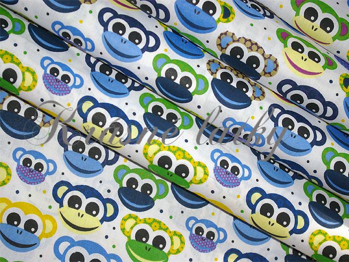 Opičky značková metráž v pěkné kvalitě - š.160 cm 100% bavlna- 100% bavlna v pestrých barvách. zpěvánky