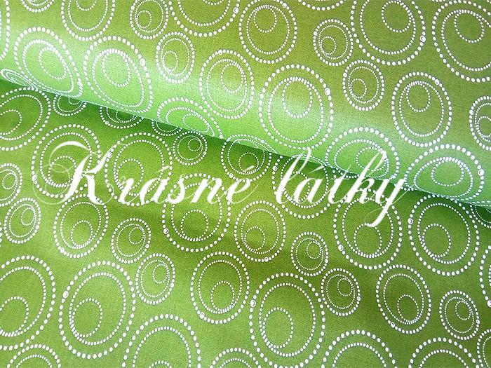 Dekorační látka na závěsy a další bytový textil - kruhy zelené š. 140cm