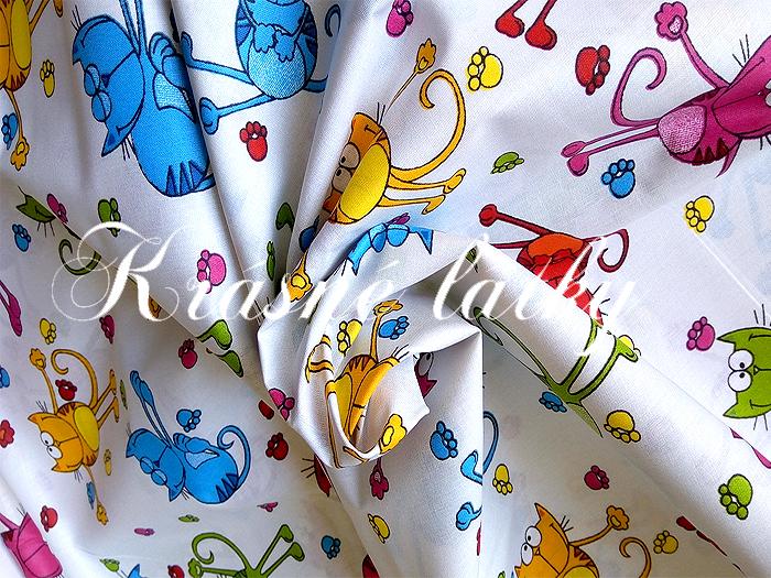 Bavlněné plátno Kocouři, kočky, látka bavlněná, plátno, dětská metráž,135gm2