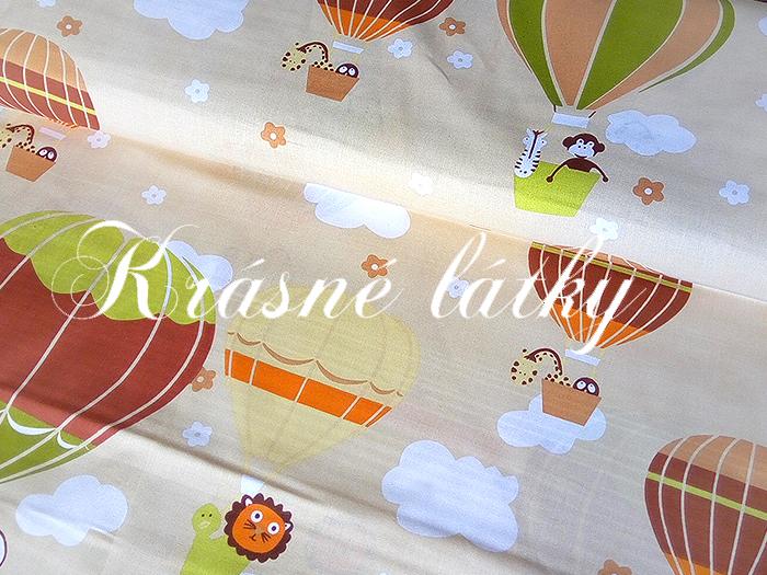 Bavlněné plátno Létající balóny, látka bavlněná, plátno, dětská metráž,135gm2