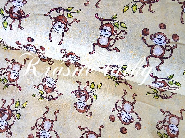 Bavlněné plátno Opičky, opice, látka bavlněná, plátno, dětská metráž,135gm2