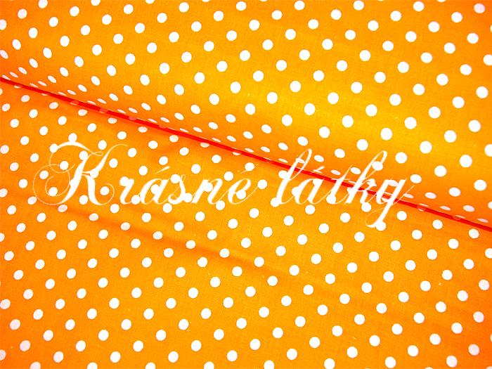 Puntík 7mm, 100% bavlna, 135g/m2, plátno oranžový podklad,látky metráž