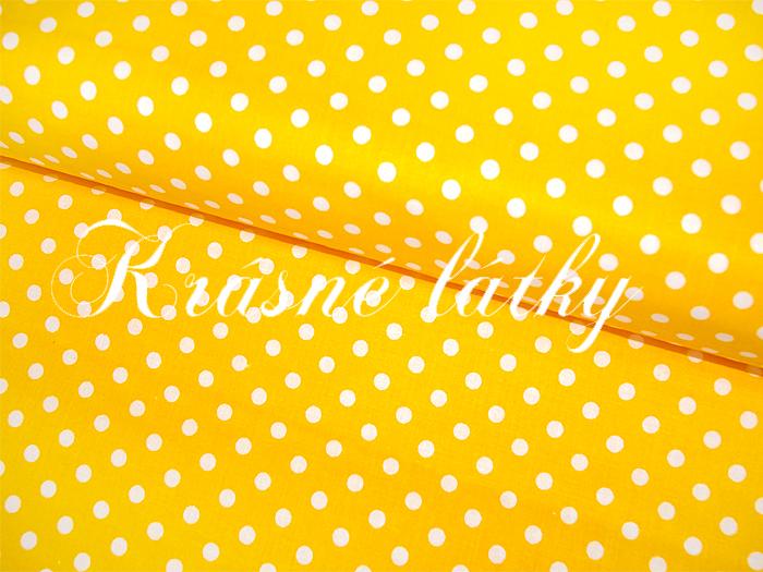 Puntík 7mm, 100% bavlna, 135g/m2, plátno žlutý podklad,látky metráž