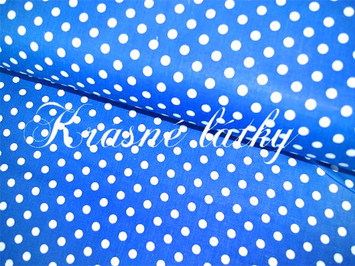 Puntík 7mm, 100% bavlna, 135g/m2,plátno královsky modrá,látky metráž
