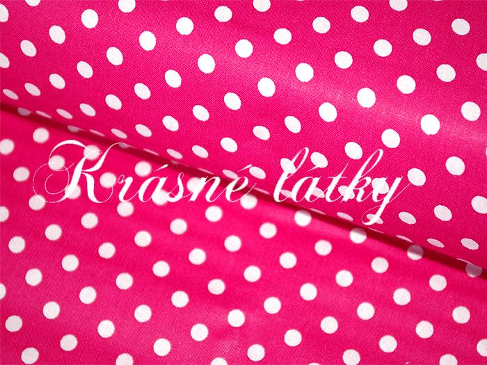 Puntík 7mm, 100% bavlna, 135g/m2, plátno růžový malinový podklad,látky metráž