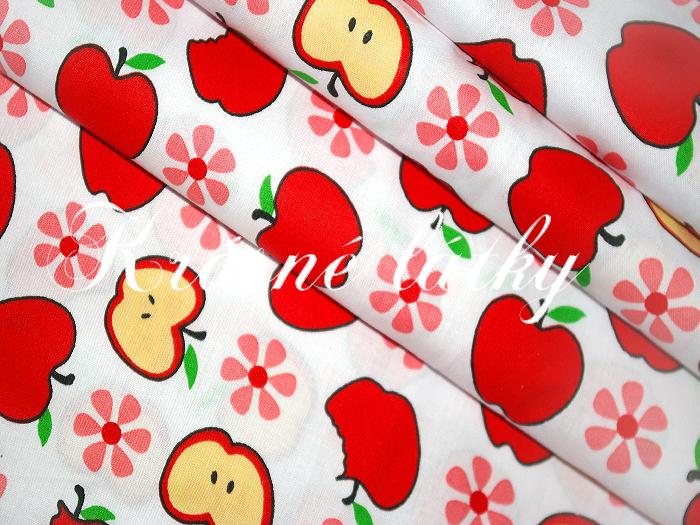 Bavlněné plátno jablka, jablíčka, látka bavlněná, plátno, dětská metráž,135gm2