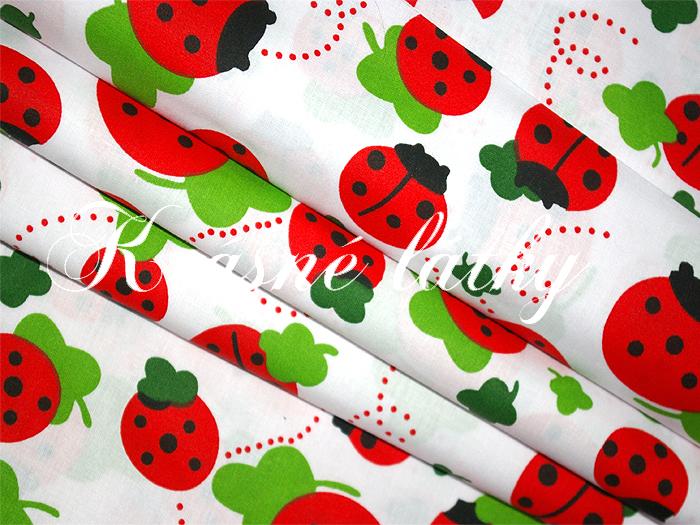 Berušky 100% bavlna v pestrých barvách. na dětské výrobky a deky, latka s beruškami, metráž berušky