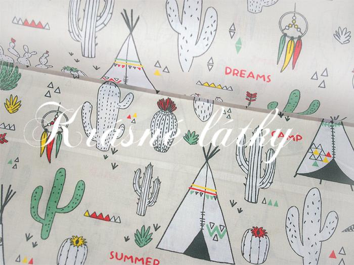 Mexiko š.160 cm 100% bavlna metráž, kaktusy, indiánský stan, teepee