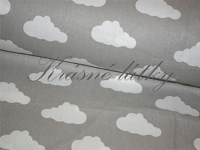 Obláčky na šedé, bavlna š. 160cm, 135gr/m2, látky metráž miky