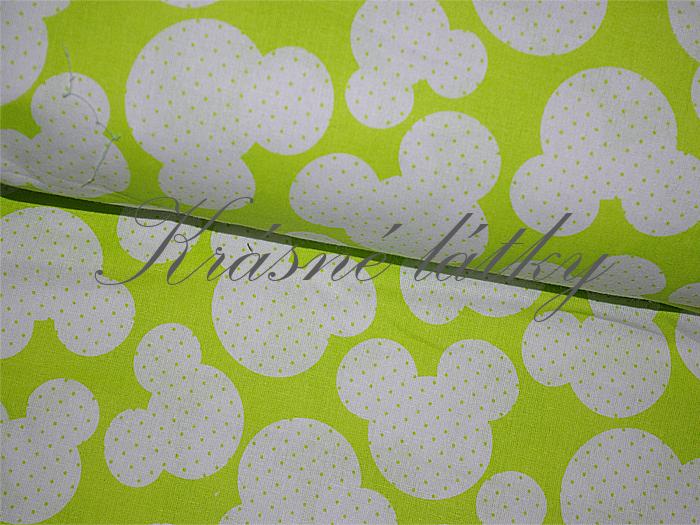 Myšky na zelené, bavlna š. 160cm, 135gr/m2, látky metráž miky