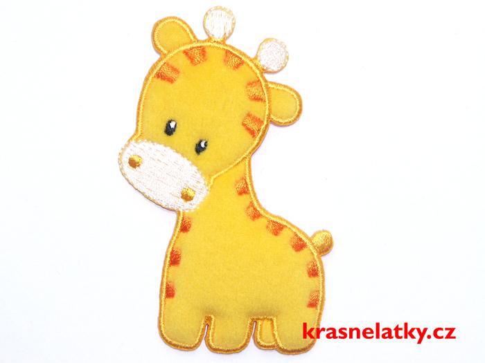 Trojrozměrná nažehlovací aplikace žirafa