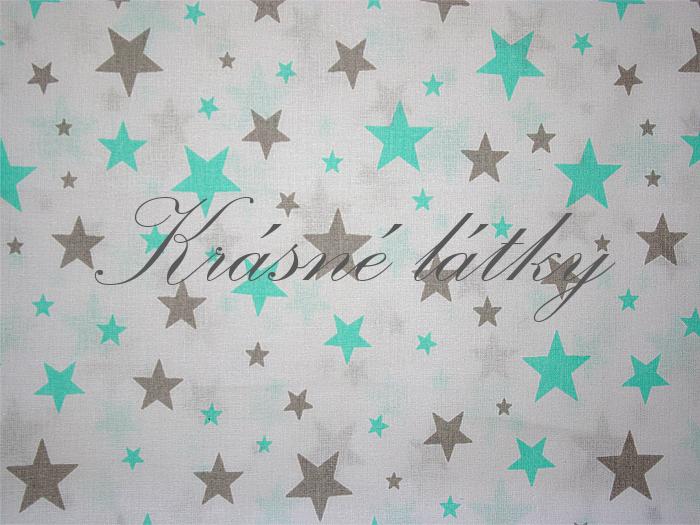máta/ šedá hvězdy š.160cm, bílý podklad, látka s velikými hvězdami, velké hvězdy bavlna, metráž