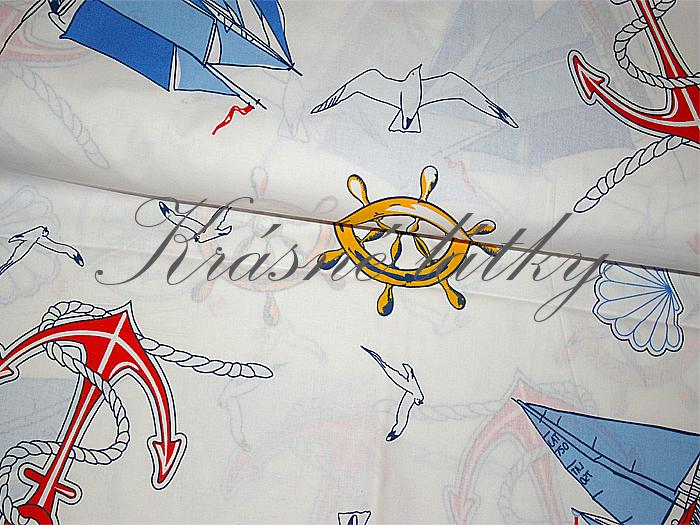 plechetnice,kútr,lodě,kormidlo,maják,kotva,látky, dvojitá šíře,námořnický motiv,100% bavlna